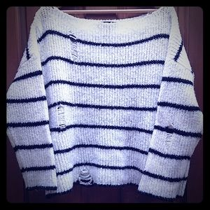 Forever XI Boat Neck Stripe Distressed Sweater